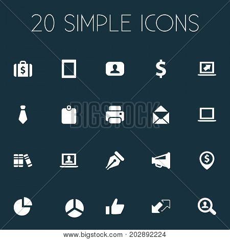 Elements Notebook, Printing Machine, Admin And Other Synonyms Megaphone, Machine And Interlocutor.  Vector Illustration Set Of Simple Trade Icons.