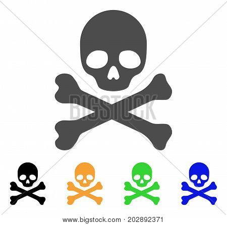 Skull And Crossbones vector icon. Style is a flat graphic symbol in grey, black, yellow, blue, green color variants. Designed for web and mobile apps.