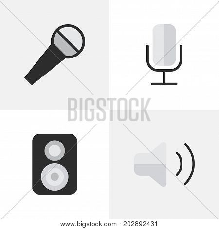 Elements Speaker, Mike, Record And Other Synonyms Mike, Record And Microphone.  Vector Illustration Set Of Simple Melody Icons.