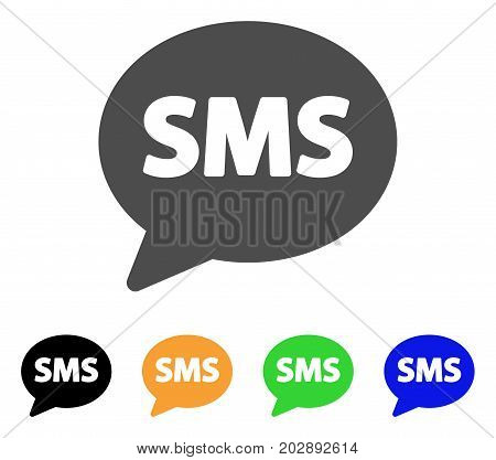 SMS Balloon vector icon. Style is a flat graphic symbol in grey, black, yellow, blue, green color versions. Designed for web and mobile apps.