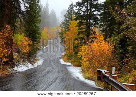 Scenic Autumn drive in Sierra Nevada mountains