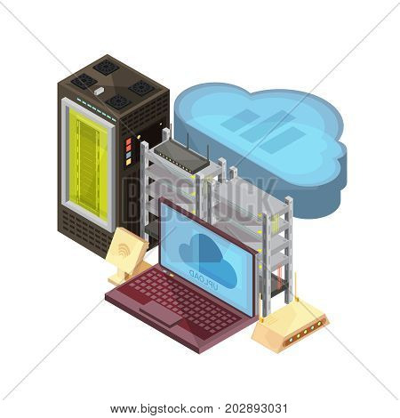 Isometric composition with data cloud,  laptop, hosting server, router, wifi on white background vector illustration