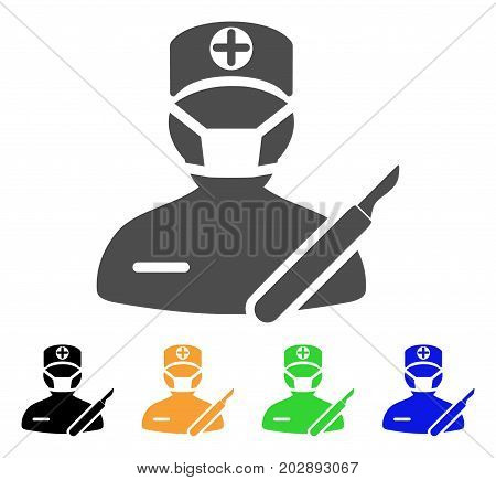 Surgeon vector pictograph. Style is a flat graphic symbol in grey, black, yellow, blue, green color versions. Designed for web and mobile apps.