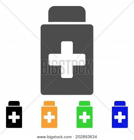 Treatment Vial vector pictogram. Style is a flat graphic symbol in gray, black, yellow, blue, green color variants. Designed for web and mobile apps.