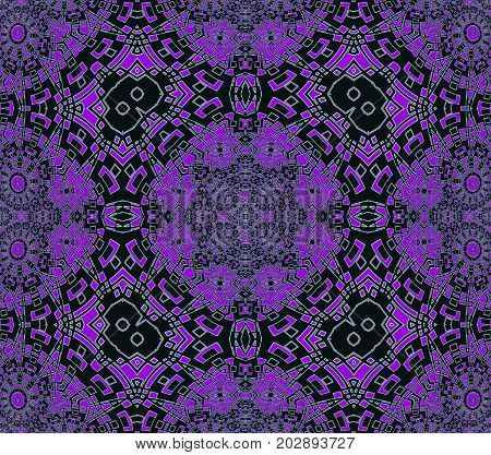 Abstract geometric seamless background. Regular intricate symmetric ornaments purple and black, ornate and extensive.