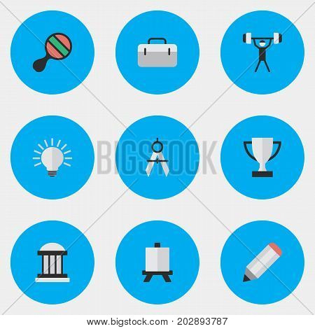 Elements Racket, Pen, University And Other Synonyms Lifter, Board And Weight.  Vector Illustration Set Of Simple Knowledge Icons.