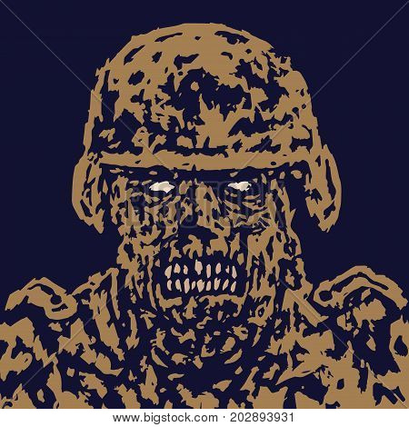 Fury zombie soldier character. Vector illustration. Black and white colors. Genre of horror. Scary monster face. States of mind.