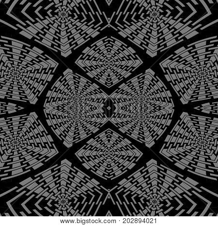 Abstract geometric background. Regular intricate squares pattern silver gray black