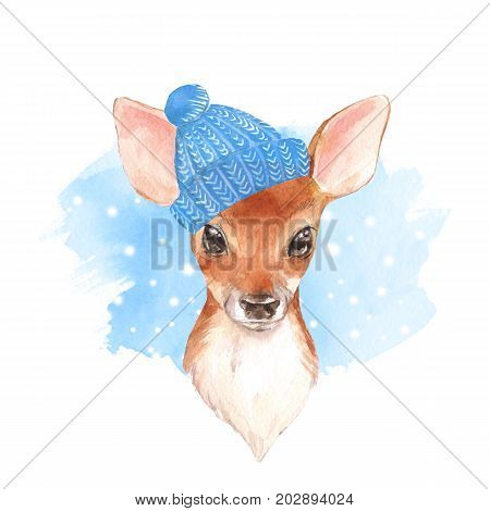 Baby Deer in blue hat. Hand drawn cute fawn. Watercolor illustration