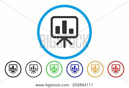 Bar Chart Display Board rounded icon. Vector illustration style is a gray flat iconic bar chart display board symbol inside a circle. Additional color variants are black, gray, green, blue, red,