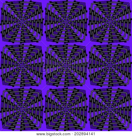 Abstract geometric seamless background. Regular intricate squares pattern purple, gray and black.