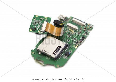Electronic circuit board close up isolated on white background