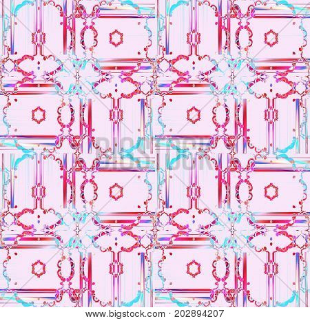 Abstract geometric background. Regular floral ornaments pink, red, violet, turquoise and purple, ornate and dreamy.