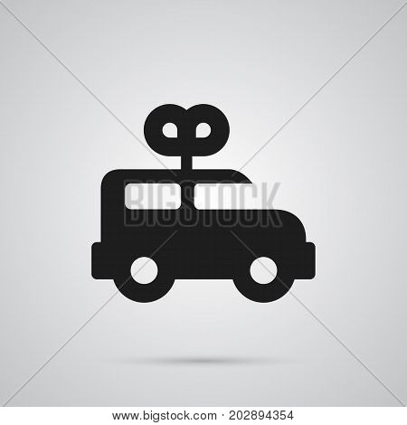 Isolated Clockwork Car Icon Symbol On Clean Background