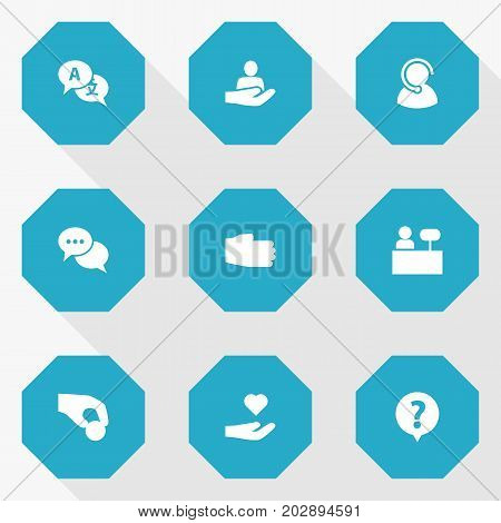 Collection Of Translate, Reception, Human And Other Elements.  Set Of 9 Support Icons Set.