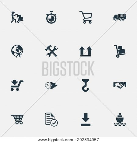 Elements Countdown, Bottom Side, Flying And Other Synonyms List, Arrow And Faster.  Vector Illustration Set Of Simple Logistics Icons.