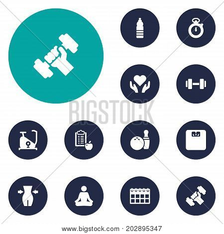 Collection Of Slimming, Training Bicycle, Kegling And Other Elements.  Set Of 12 Bodybuilding Icons Set.