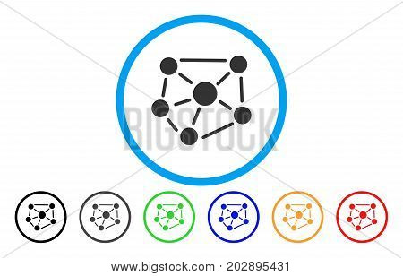 Social Graph rounded icon. Vector illustration style is a grey flat iconic social graph symbol inside a circle. Additional color versions are black, gray, green, blue, red, orange.