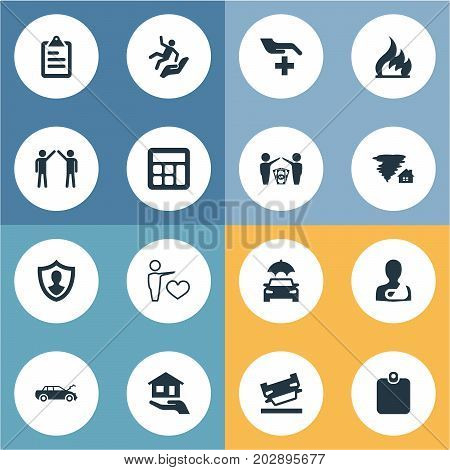 Elements Job Accord, Broken Arm, Ignition And Other Synonyms Wreck, Weather And Man.  Vector Illustration Set Of Simple Fuse Icons.