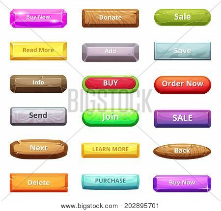 Cartoon buttons for web market and other internet projects. Button interface menu buy now, delete, back and learn more. Vector illustration