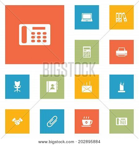 Collection Of Handshake, Printer, Coffee Elements.  Set Of 12 Bureau Icons Set.