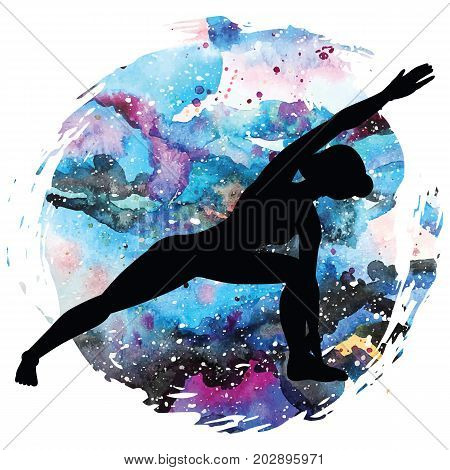 Women silhouette on galaxy astral background. Extended side angle yoga pose. Utthita Parsvakonasana Vector illustration.