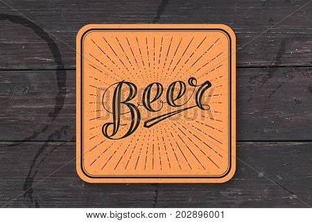 Coaster for beer with hand-drawn lettering Beer. Monochrome vintage drawing for bar, pub and beer themes. Colorful square for placing beer mug and bottle over it with lettering. Vector Illustration