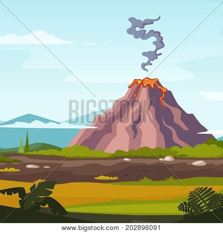 Wild landscape with volcano and lava. Cartoon background for game design projects. Volcano eruption landscape nature, vector illustration