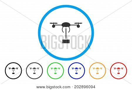 Copter Shipment rounded icon. Vector illustration style is a grey flat iconic copter shipment symbol inside a circle. Additional color variants are black, grey, green, blue, red, orange.