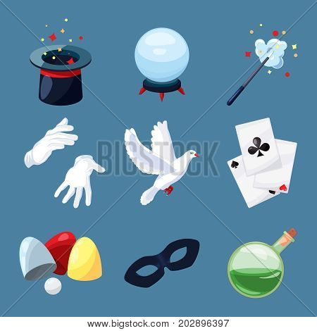 Magician icons set. Surprise vector illustrations in cartoon style. Magic wand, mystery book, cylinder and other different tools for performance show