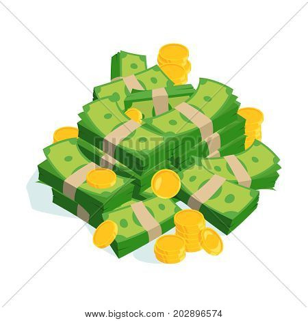 Very large bundles of money and coins. Vector isolated on white. Cash money finance green banknot and gold coins illustration