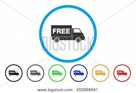 Free Shipment Van rounded icon. Vector illustration style is a gray flat iconic free shipment van symbol inside a circle. Additional color versions are black, grey, green, blue, red, orange.