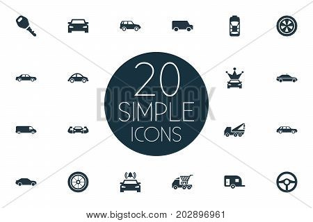Elements Trucking, Ride, Traffic And Other Synonyms Turtle, Corona And Cart.  Vector Illustration Set Of Simple Auto Icons.