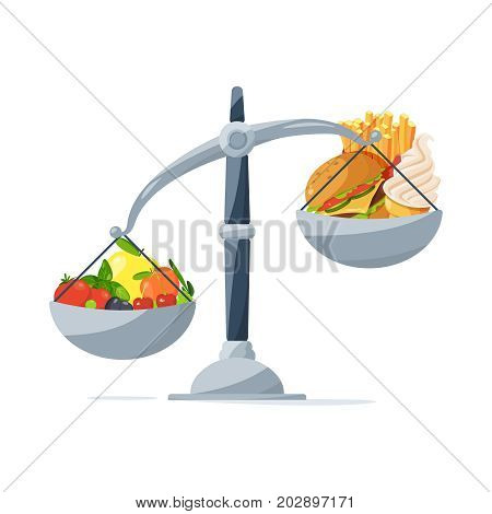 Healthy food and fast food on the scales. Choose that you eat. Vector picture in cartoon style food for healthy on scale and hamburger illustration