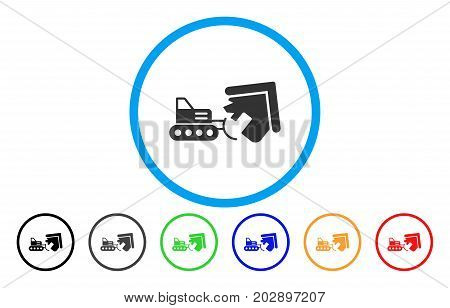 House Demolition rounded icon. Vector illustration style is a grey flat iconic house demolition symbol inside a circle. Additional color variants are black, gray, green, blue, red, orange.