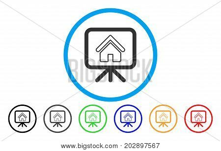 House Project rounded icon. Vector illustration style is a grey flat iconic house project symbol inside a circle. Additional color versions are black, gray, green, blue, red, orange.
