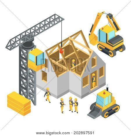 Building under construction. Isometric pictures set. Construction site development urban house structure. Vector illustration