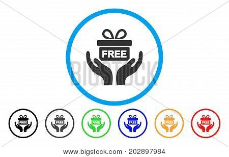 Present Give Hands rounded icon. Vector illustration style is a gray flat iconic present give hands symbol inside a circle. Additional color variants are black, gray, green, blue, red, orange.