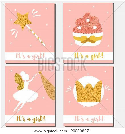 Baby shower card design template. It's a girl cards with glittering elements cupcakes magic wand fairy crown