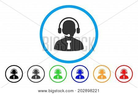 Reception Operator rounded icon. Vector illustration style is a grey flat iconic reception operator symbol inside a circle. Additional color variants are black, grey, green, blue, red, orange.