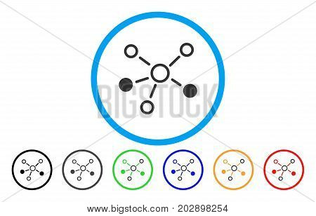 Relations rounded icon. Vector illustration style is a grey flat iconic relations symbol inside a circle. Additional color versions are black, gray, green, blue, red, orange.
