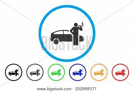 Smoking Taxi Driver rounded icon. Vector illustration style is a gray flat iconic smoking taxi driver symbol inside a circle. Additional color versions are black, grey, green, blue, red, orange.