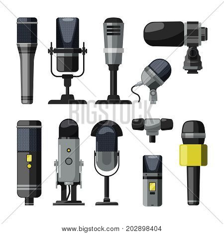 Dictaphone, microphone and other professional tools for reporters and speakers. Black dictaphone and microphone equipment. Vector illustration