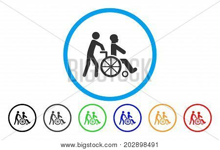 Disabled Person Transportation rounded icon. Vector illustration style is a grey flat iconic disabled person transportation symbol inside a circle. Additional color versions are black, gray, green,