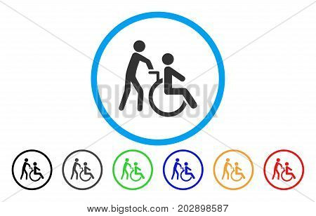 Disabled Person Transportation rounded icon. Vector illustration style is a grey flat iconic disabled person transportation symbol inside a circle. Additional color variants are black, gray, green,