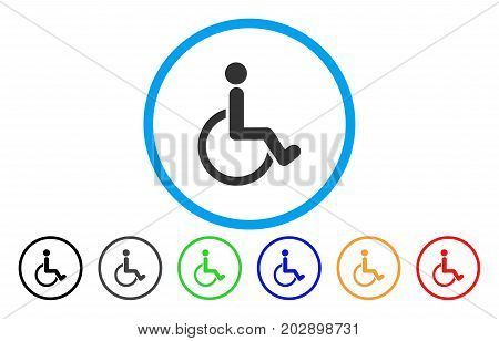 Disabled Person rounded icon. Vector illustration style is a gray flat iconic disabled person symbol inside a circle. Additional color versions are black, gray, green, blue, red, orange.