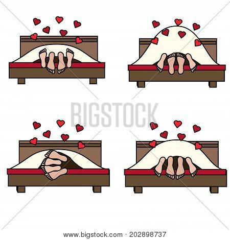 Couple having sex in bed in different poses. Family lovers making love. St Valentine's day romantic love honeymoon design element icon. Vector illustration