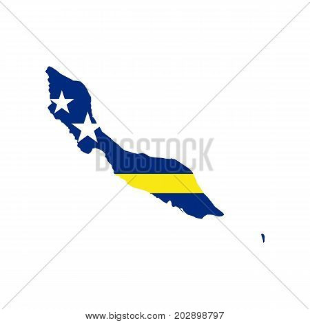 Curacao map and flag on the white background. Vector illustration
