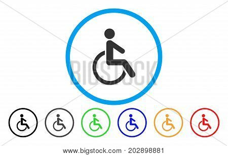 Disabled Person rounded icon. Vector illustration style is a grey flat iconic disabled person symbol inside a circle. Additional color variants are black, grey, green, blue, red, orange.