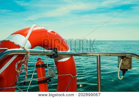 Rescue Ring On Sailing Boat During Cruise